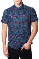 7 Diamonds Men's Imaginary Friend Short Sleeve Floral Print Woven Shirt