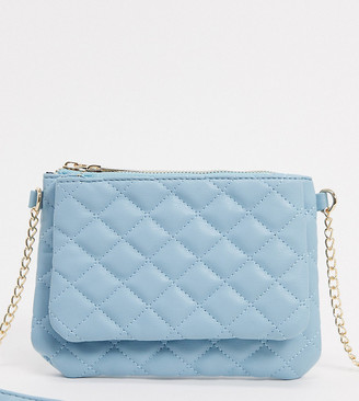 Glamorous Exclusive cross body bag with double compartments in blue with chain handle