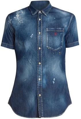 DSQUARED2 Distressed Denim Wash Shirt