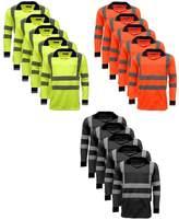 Standsafe 5 Pack Polo Shirts Hi Vis High Viz Visibility Long Sleeve Safety Men's Work Shirt