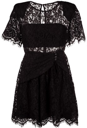 Self-Portrait Floral-Lace Short-Sleeved Dress
