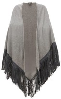 Babjades - Leather-tassel Cashmere Shawl - Womens - Grey