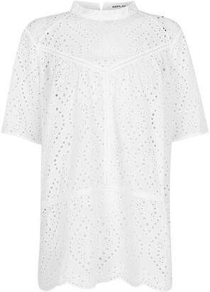 Replay Blouse In Broderie Anglaise