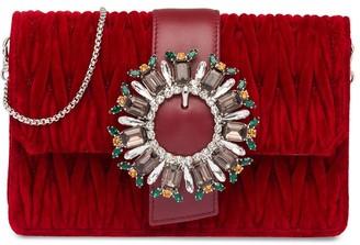 Miu Miu Crystal-Embellished Matelasse Clutch