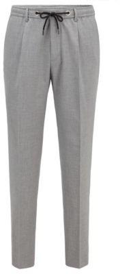 HUGO BOSS Melange Slim Fit Pants With Drawstring Waist - Light Grey