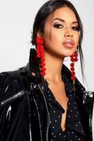 boohoo Yasmin Pom Pom Statement Earrings