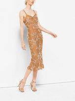 Michael Kors Crystal-Embroidered Floral Lace Slip Dress