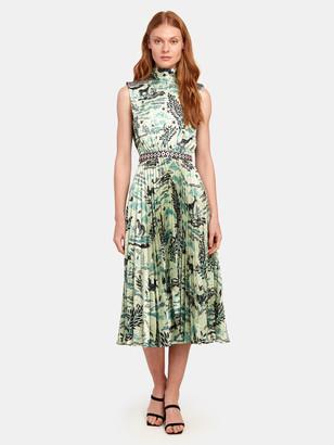 Saloni Fleur-E Mock Neck Pleated Midi Dress