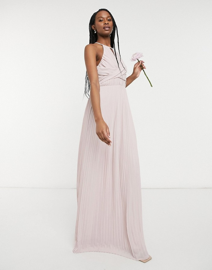 TFNC bridesmaid pleated wrap detail maxi dress in mink