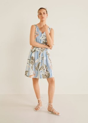 MANGO Floral print linen-blend dress