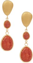 Rivka Friedman 18K Gold Clad Cascading Graduated Faceted Coral Drop Post Earrings