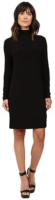 KAMALIKULTURE by Norma Kamali Long Sleeve Turtleneck Dress To Knee (Black) Women's Dress