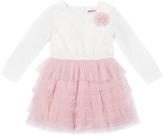 Little Lass Oatmeal & Pink Ruffle Flower-Accent A-Line Dress - Infant