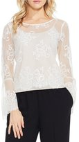 Vince Camuto Bell Sleeve Mesh Border Lace Blouse