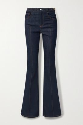 Chloé Braided High-rise Bootcut Jeans - Dark denim