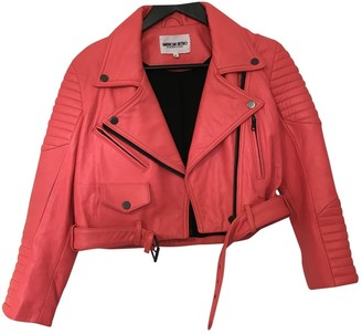 American Retro Pink Leather Jacket for Women