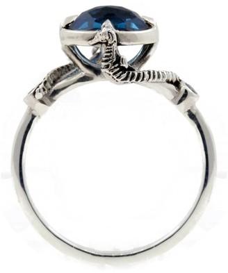 Lee Renee Seahorse Blue Topaz Ring Silver