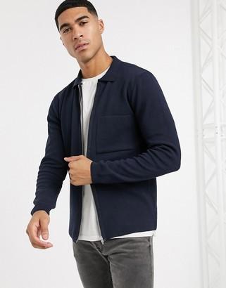 New Look zip through cardigan with collar in navy