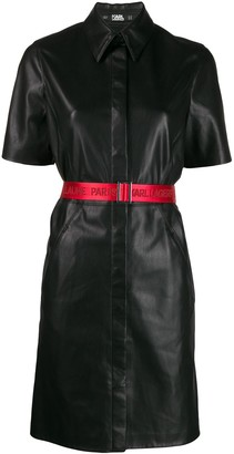 Karl Lagerfeld Paris Faux Leather Shirt Dress