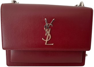 Saint Laurent Sunset Burgundy Leather Handbags