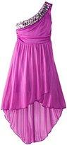 Ruby Rox Big Girls' One-Shoulder Dress with Rhinestones