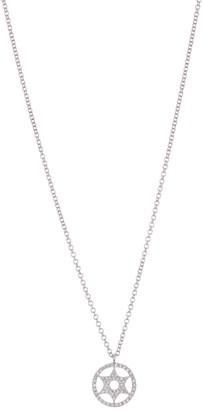 Ron Hami 14K White Gold Pave Diamond Star of David Circle Pendant Necklace - 0.12 ctw