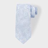 Paul Smith Men's Light Blue Tonal Floral Embroidery Narrow Silk Tie