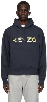 Kenzo Navy Embroidered Logo Hoodie