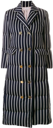 Thom Browne Chenille Banker Stripe Wool & Cotton Overcoat
