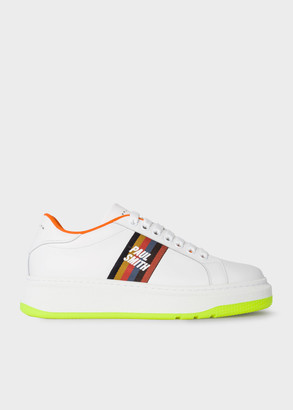 Men's White Leather 'Leyton' Trainers With Fluro Sole