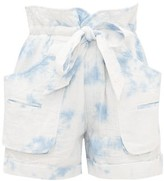 Etoile Isabel Marant Belize Tie-dye Cotton-blend Wide-leg Shorts - Womens - Blue White