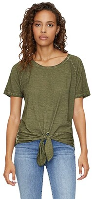 Sanctuary Lou Ruched Tie Tee (Black) Women's Clothing