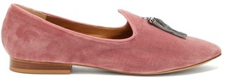 +Hotel by K-bros&Co Le Monde Beryl - X The Siren Hotel Tasselled Velvet Slipper Shoes - Womens - Light Pink