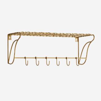Madam Stoltz - Ant Brass Iron Shelf with hooks - iron | brass - Brass