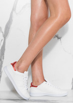 Missy Empire Kisum White Metallic Red Detail Trainers