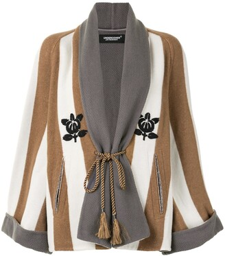 Undercover Bead-Embellished Striped Coat