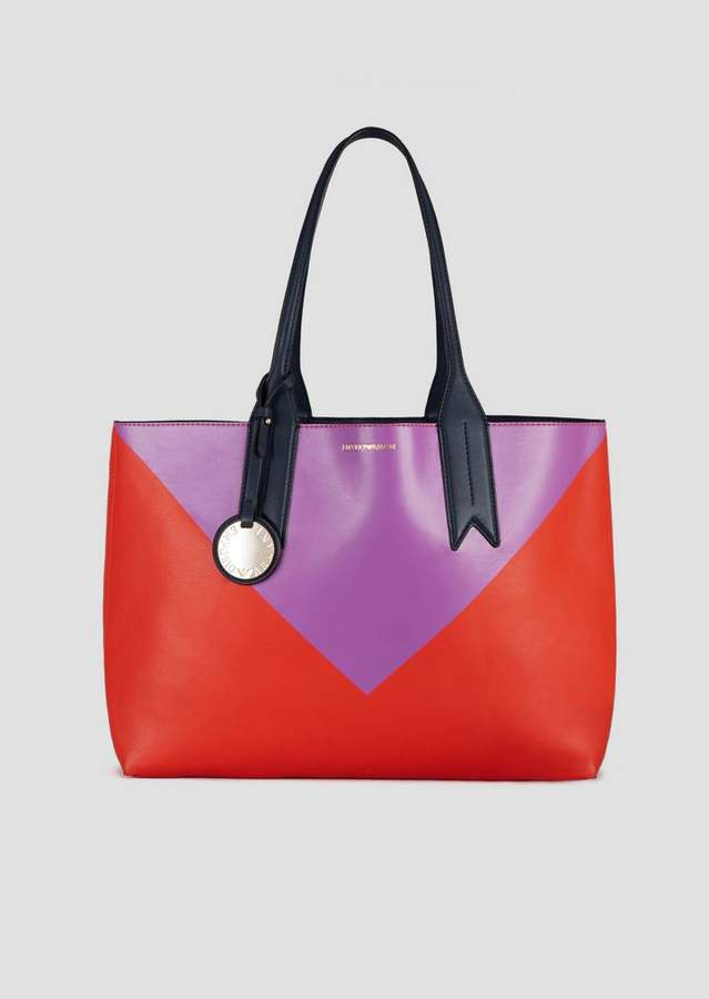 7a117541b2 Reversible Shopping Bag With Triangle Print, Logoed Charm And Internal  Clutch