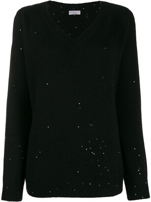 Brunello Cucinelli V-neck sequin-embellished jumper
