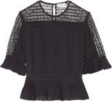 Tanya Taylor Zohara pleated lace-paneled silk top