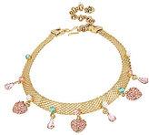 Betsey Johnson Mixed-Charm Mesh Choker Necklace
