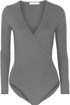 Kain Label Rita Wrap-Effect Ribbed-Knit Bodysuit