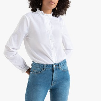 La Redoute Collections Cotton Ruffled-Neck Shirt with Long Sleeves