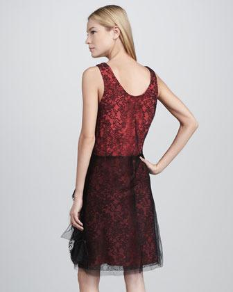 Vera Wang Chantilly Lace Shift Dress, Red/Black