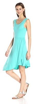 Star Vixen Women's Petite Sleeveless Assymentrical Hem Dress with Faux Wrap Tulip Skirt