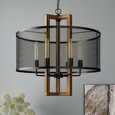 Williston Forge Eaton 6 Light Unique Statement Drum Chandelier With Wood Accents Shopstyle