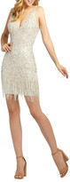 Mac Duggal 6-Week Shipping Lead Time Sequin & Bugle Beaded Fringe Short Dress