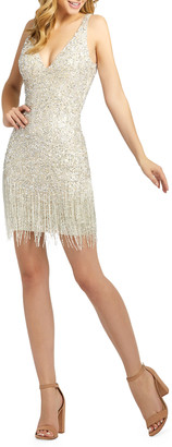 Mac Duggal Sequin & Bugle Beaded Fringe Short Dress