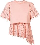 Sea embroidered asymmetric T-shirt - women - Cotton - S