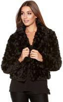 Quiz Black Rose Faux Fur Jacket