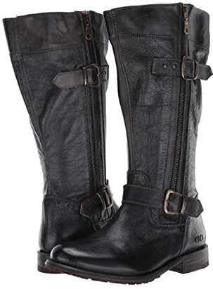 Bed Stu Gogo Lug Wide Calf (Black Rustic) Women's Boots